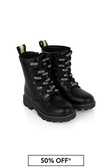 MSGM Girls Black Leather Boots