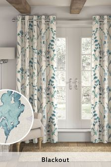 Blue Isla Floral Print Blackout/Thermal Eyelet Curtains