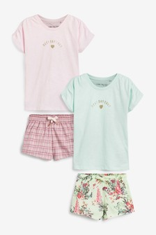 Pink/Green 2 Pack Floral/Check Woven Short Pyjamas With Jersey Top (3-16yrs)