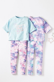 Lilac/Blue 2 Pack Unicorn Print Cropped Top Pyjamas (3-16yrs)