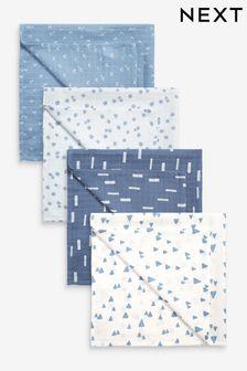 Blue Mini Print 4 Pack Muslin Squares