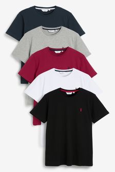 Burgundy Mix Crew Neck Regular Fit Stag T-Shirts Five Pack