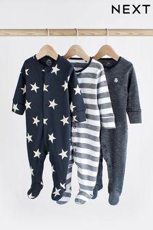 Navy 3 Pack Star Stripe Sleepsuits (0mths-2yrs)