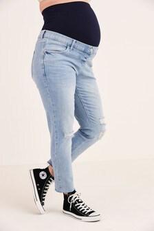 Bleach Rip Maternity Straight Jeans