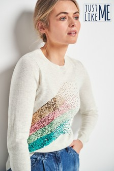 Grey Rainbow Sequin Graphic Jumper