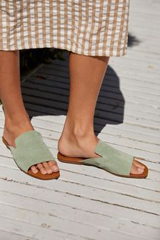Mint Slipper Mule Sandals