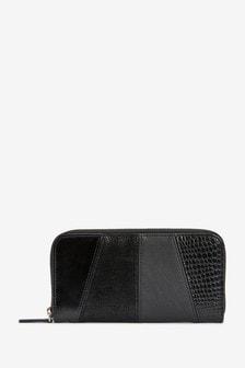 Black Spliced Texture Large Purse
