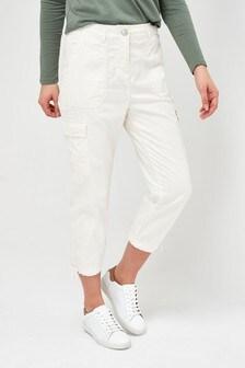Ecru Cropped Utility Trousers