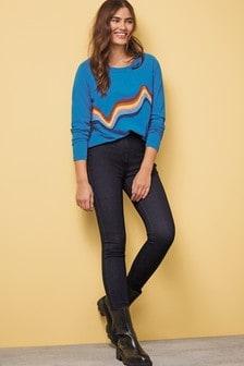 Blue Rainbow Raglan Long Sleeve Top