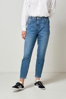 Dark Blue Super Soft Elasticated Waist Mom Jeans
