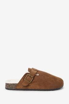 Tan Buckle Mule Slippers
