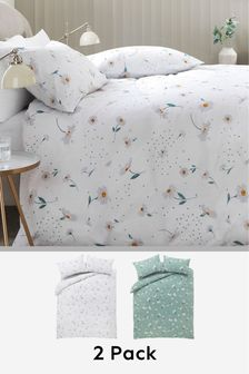 Sage 2 Pack Sage Ditsy Daisy Duvet Cover and Pillowcase Set