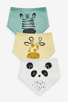 Monochrome 3 Pack Cotton Character Face Bibs