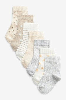 Neutral Star 7 Pack Cotton Rich Socks (Newborn)