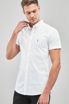 White Short Sleeve Stretch Oxford Shirt