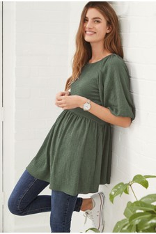 Khaki Textured Puff Sleeve Tunic