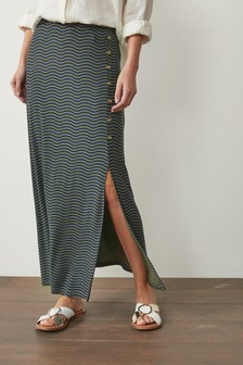 Khaki Stripe Jersey Maxi Skirt