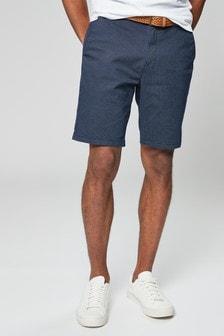 Navy Ditsy Print Belted Chino Shorts