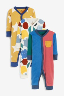 Bright 3 Pack Colourblock Footless Sleepsuits (0mths-3yrs)