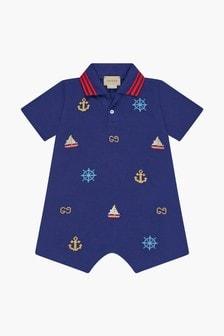 GUCCI Kids Baby Boys Navy Cotton Shortie