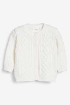 White Cotton Cable Cardigan (0mths-2yrs)