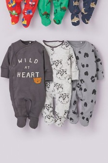 Monochrome 3 Pack Slogan Character Sleepsuits (0-18mths)