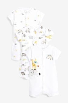 Ecru 3 Pack Cotton Animal Rompers (0mths-3yrs)