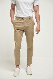 Stone Cotton Slim Fit Suit
