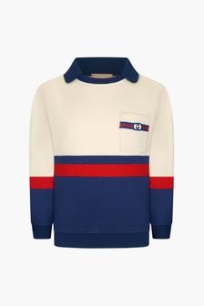 GUCCI Kids Boys Blue Cotton Sweater