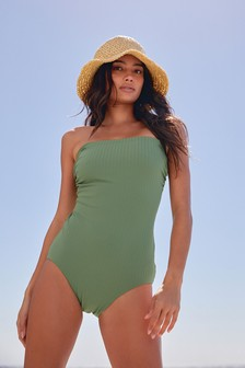 Green Ribbed Sculpt And Shape Bandeau Swimsuit