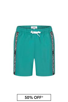 Calvin Klein Underwear Boys Green Swim Shorts