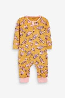 Ochre Yellow Seahorse Sleepsuit