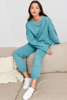 Blue Lounge Joggers And Jumper Set