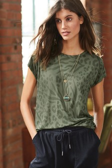 Khaki Animal Print Cap Sleeve T-Shirt