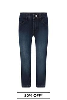 Boss Kidswear Boys Blue Stone Washed Denim Regular Fit Jeans