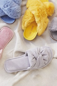 Grey Bow Slider Slippers