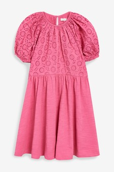 Pink Broderie Puff Sleeve Dress (3-16yrs)
