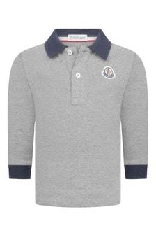Moncler Enfant Baby Boys Grey/Navy Polo Top