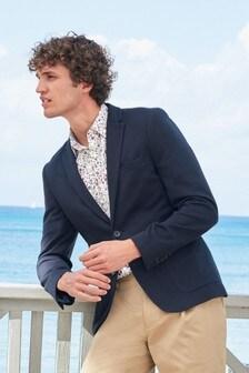 Navy Blue Jersey Blazer