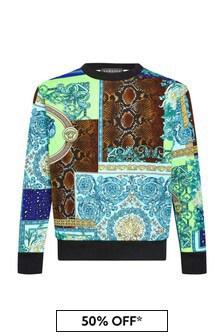 Versace Boys Blue Cotton Sweatshirt