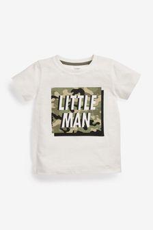 White Little Man Slogan T-Shirt (3mths-7yrs)