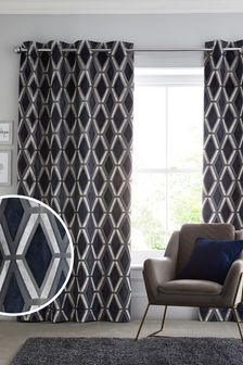 Navy Blue Navy Blue Geo Cut Velvet Collection Luxe Eyelet Curtains