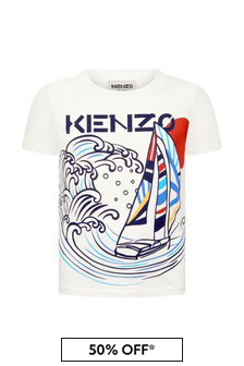 Kenzo Kids Boys Cream Cotton T-Shirt