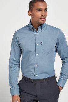 Dusky Blue Easy Iron Button Down Oxford Shirt