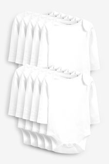 White 10 Pack Essential Long Sleeve Bodysuits (0mths-3yrs)