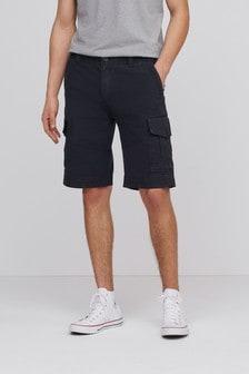 Black Premium Laundered Cargo Shorts