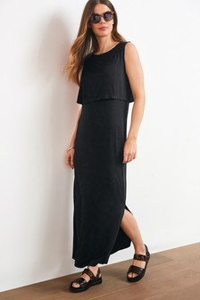 Black Maternity/Nursing Layer Maxi Dress