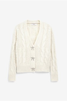 Neutral Embellished Bow Button Short Cardigan