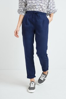 Navy Blue Linen Blend Taper Trousers