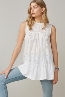 White Broderie Sleeveless Tunic